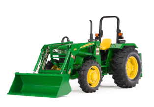 Compact small farm tractor with front end loader.