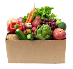 Box of fruit and vegetables produced from community supported agriculture, a sustainable food production system.